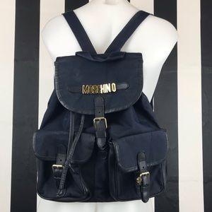 Moschino Redwall Navy Blue Nylon Backpack